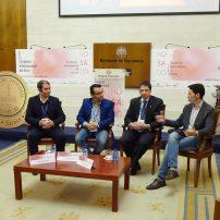 Conferencia: Consumo del Rosado en alta Restauración. De izq. a derecha: Álvaro Martín Prieto, Marcelino Calvo y Jon Andoni Rementería junto al moderador: Miguel Castañeda