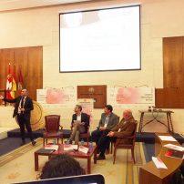 """Cata de """"Los espumosos Rosados"""" a cargo de Adolfo Heredia, Pablo Ossorio y Xavier Gorostiza. (Izq. a derecha) junto al moderador Julio C. Izquierdo."""