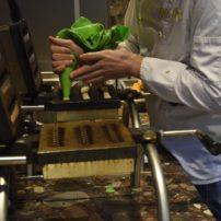 Un pastelero trabajando el waffle